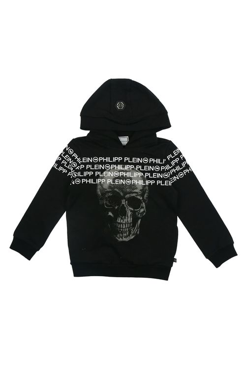 Hoodie Black Logo Skull Strass