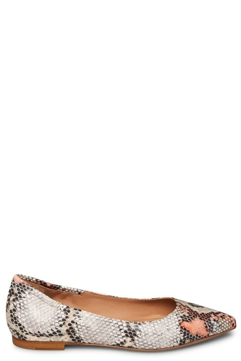 Python printed leather ballerina