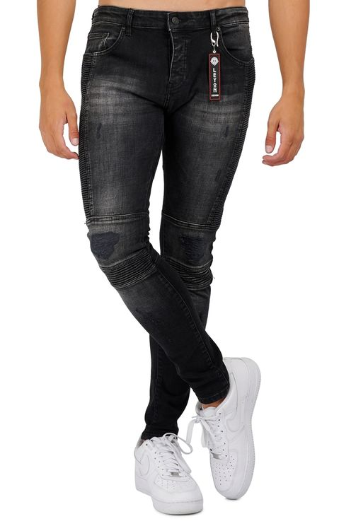 Biker denim jeans Black
