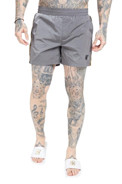 SikSilk Crushed Nylon Tape Shorts Grey