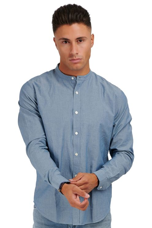 Collarless Shirt Mid Blue