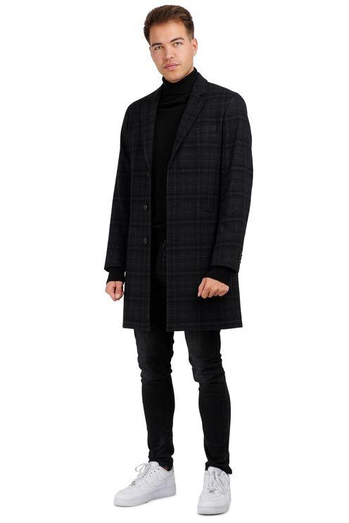 Coat Black Grey Checked