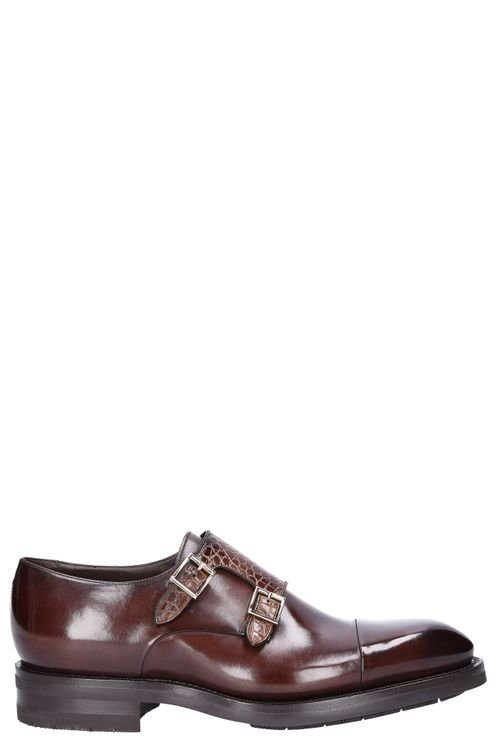 Monk Shoes Smooth Leather Embossing Brown Gallagher