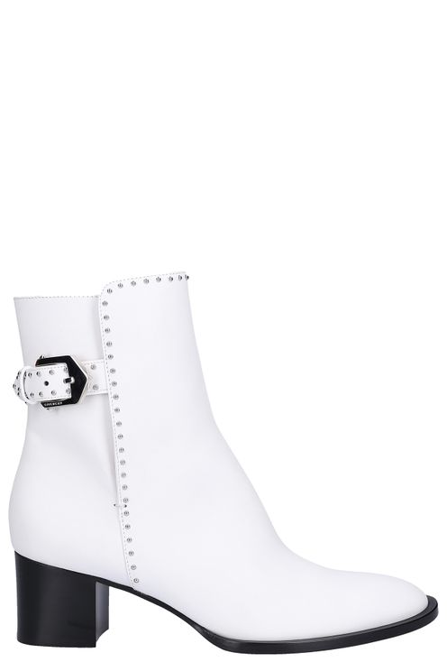 Ankle Boots Bed Calfskin Logo Rivets White Deli