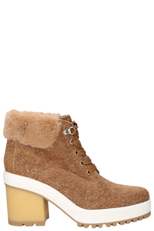 Lace Up Ankle Boots H Suede Logo Beige Anke