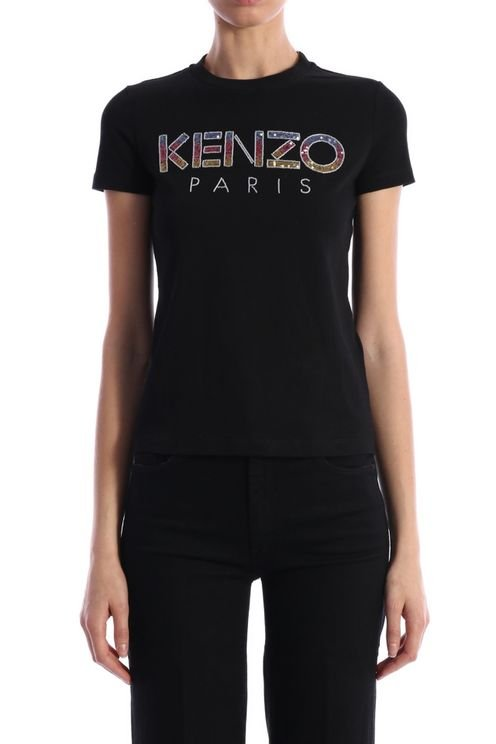 Women's Black Cotton T-shirt