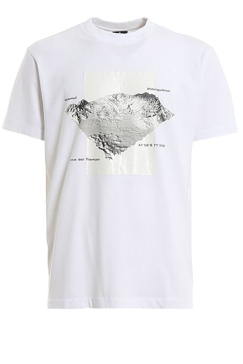 T-shirt Stampa Mountains 3d Bianca