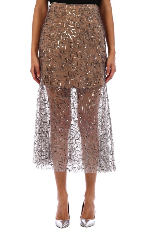 Leaf Sequin Midi Skirt