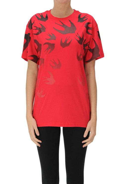 Swallows Print Cotton T-shirt