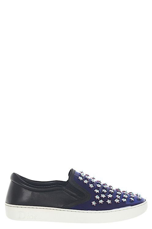 Women Slip-On Sneakers HAPPY Patent Leather Blue Leather Black Ornament - Baba
