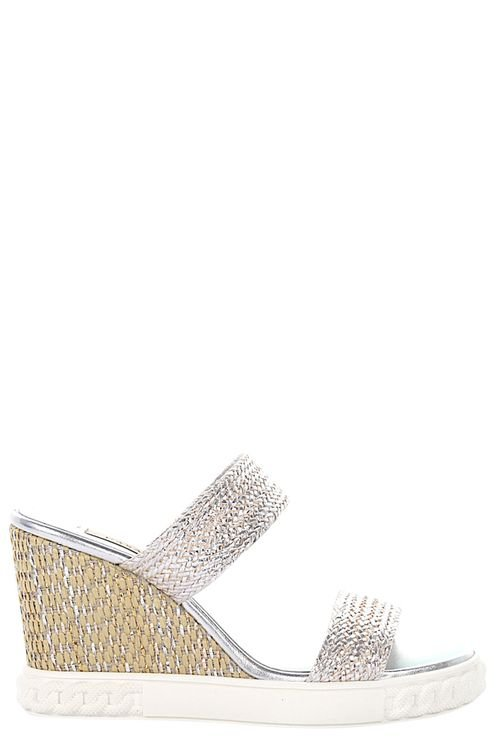 Women Sandals Braided Leather Calfskin Rattan Smooth Leather Braiding Silver - Verena