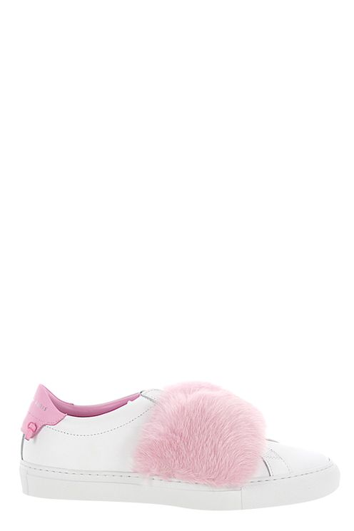 Women Slip-On Sneakers Leather White Mink Fur Pink - Sledge
