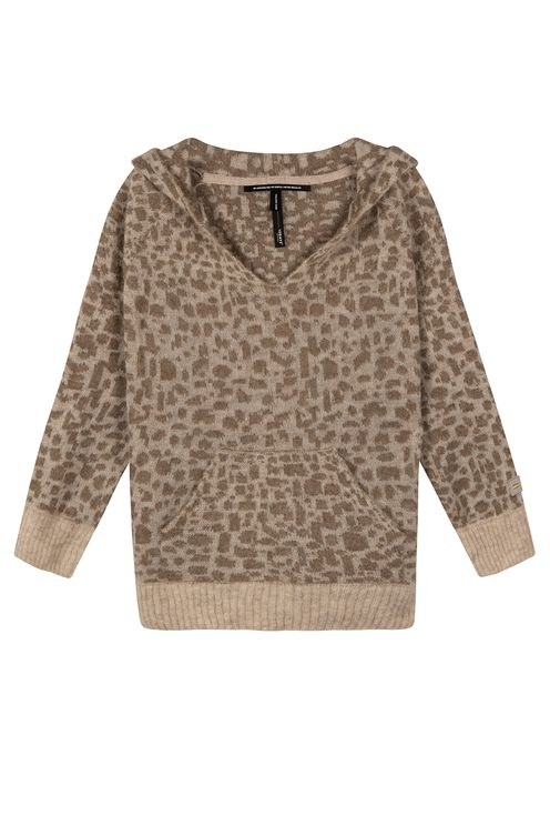 Soft hoodie leopard, caramel