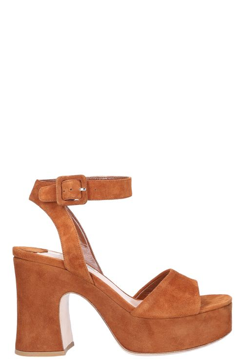 Women Platform Sandals Suede Brown - Vinslet
