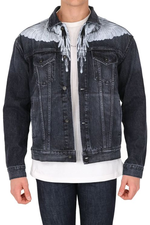 Wings Black Denim Jacket