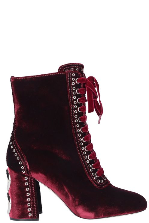 Women Lace Up Ankle Boots Velvet - Muskat