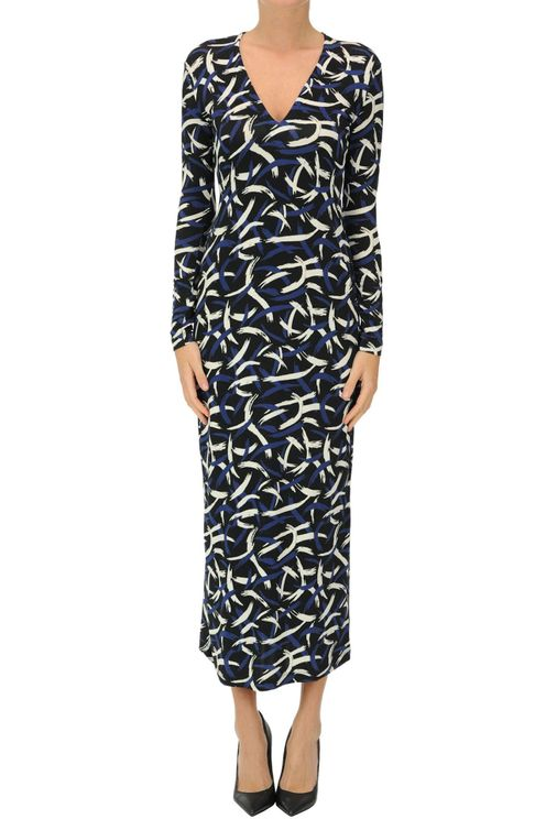 Printed Jersey Long Dress