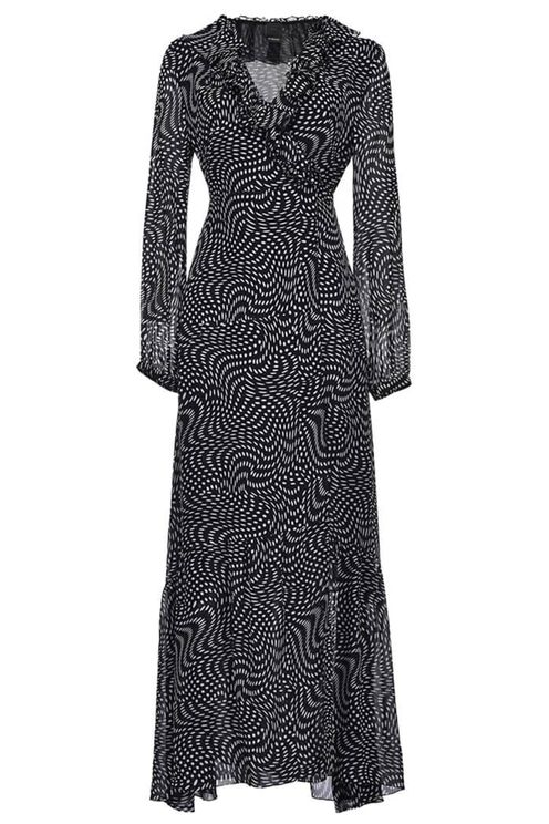 Pinko umile black white georgette long dress