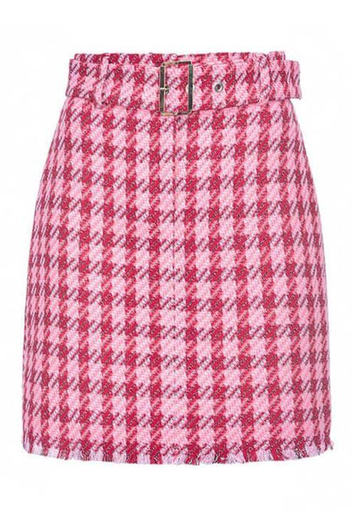 Pinko accurato macrocheck pink red miniskirt