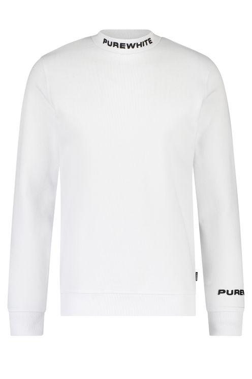 Mockneck Collar Logo Sweater - White