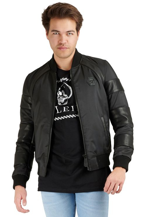 Leather bomber with Nylon