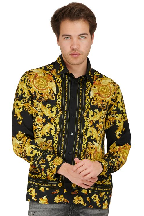 Viscose barok overhemd zwart