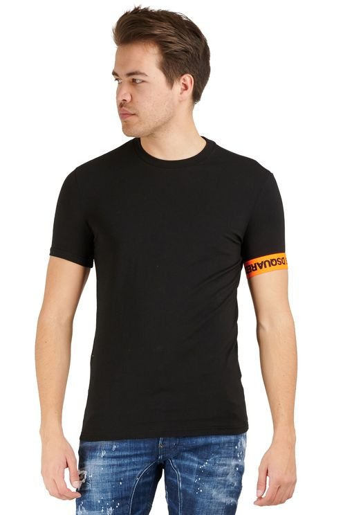 T-Shirt Round Neck Black/Orange