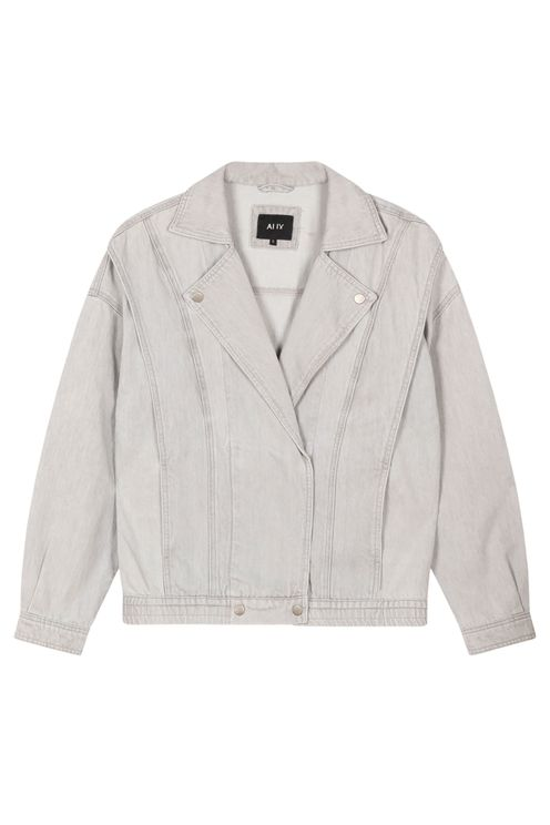 Denim biker jacket, pale grey