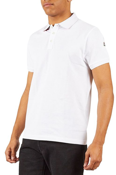 White Polo With Contrasting Print Under Collar