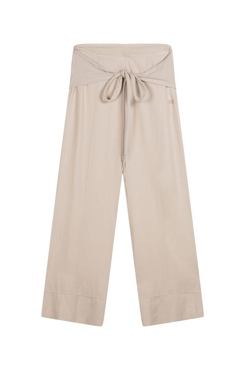 Belted wide pants, white sand