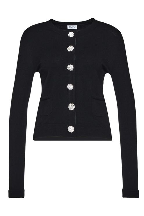 Cardigan With Strass Buttons Black