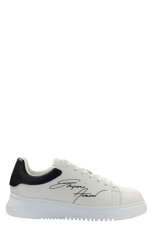 Emporio armani signature cream black sneaker