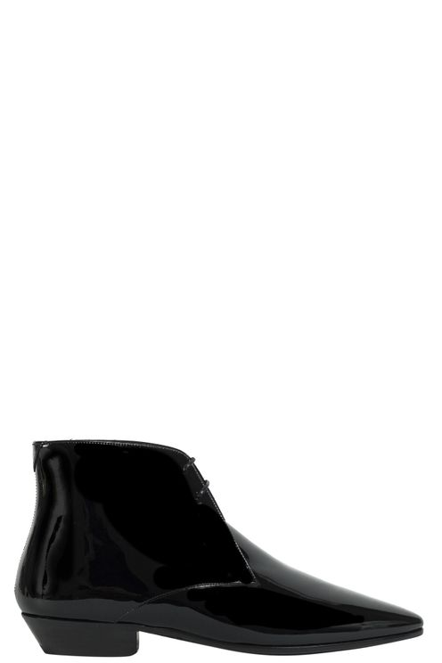 Low Boots Shinny Black Leather
