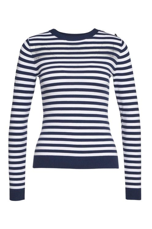 Sweater With Cross Stripes Blue
