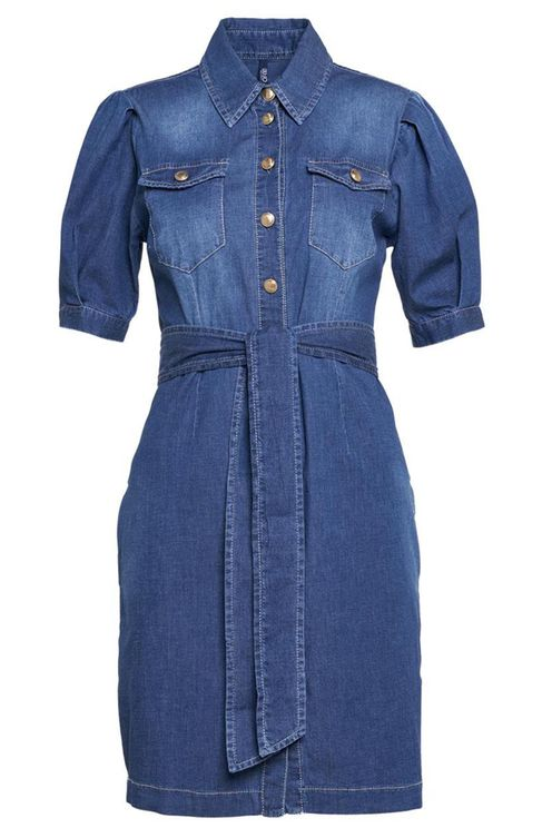 Dress In Denim With Waist Band Blue