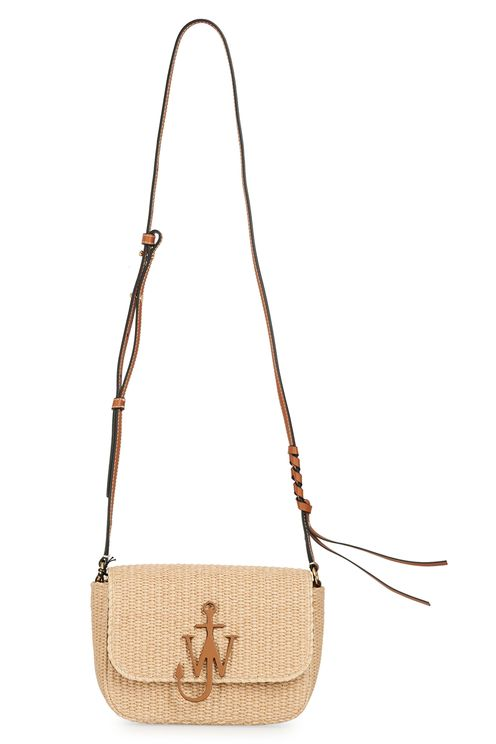 Small raffia bag with brown metal l