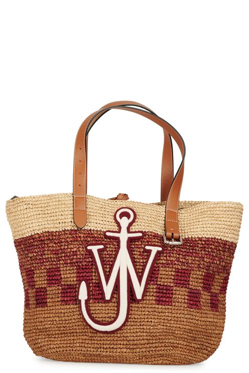 Large raffia bag with a large embro