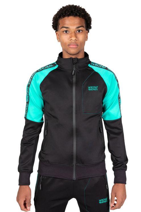 Lyon track jacket - zwart/turquoise