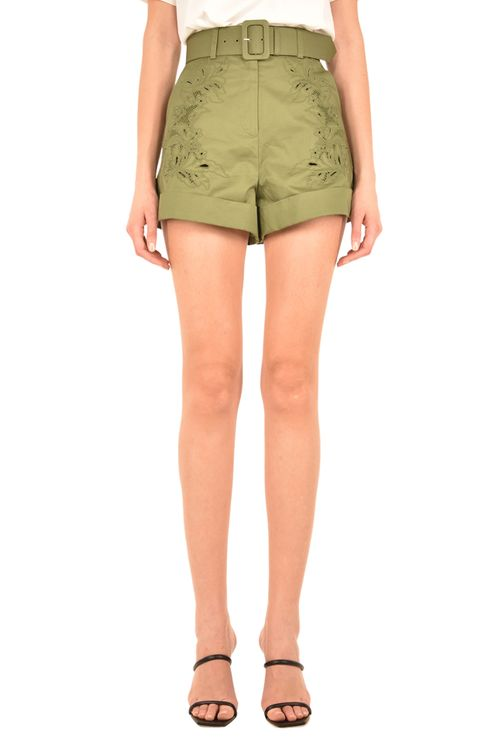 Khaki Embroidered Shorts
