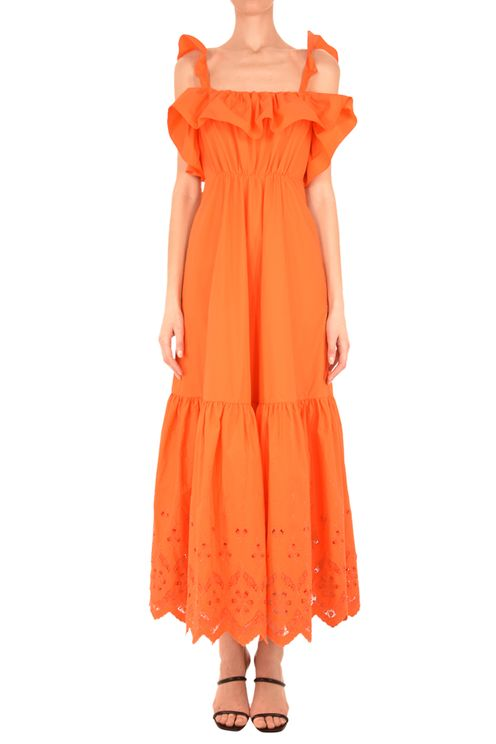 Orange Cotton Broderie Maxi Dress