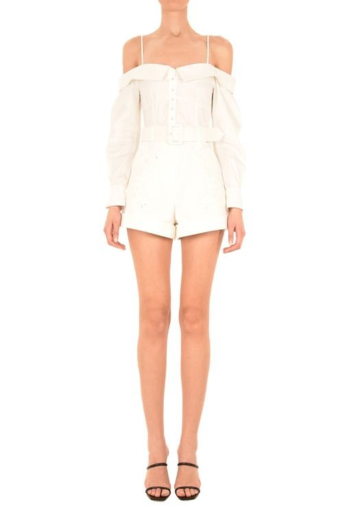 Off Shoulder Embroidered Playsuit