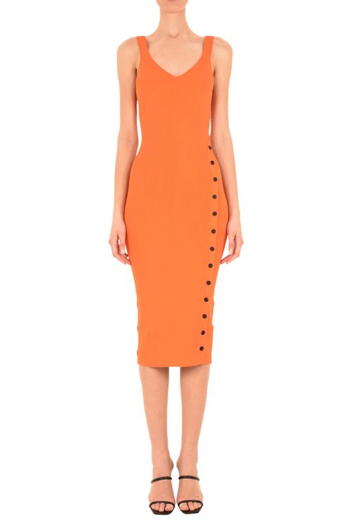 Orange Ribbed Knit Midi Dress