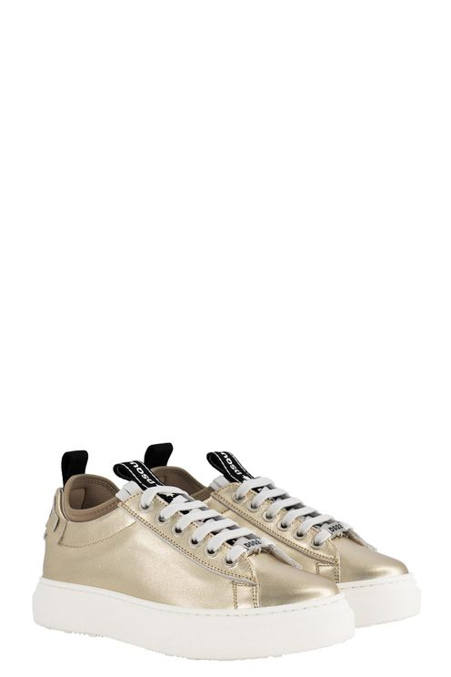 Box Sole Sneakers Logo Stripe Lace Up