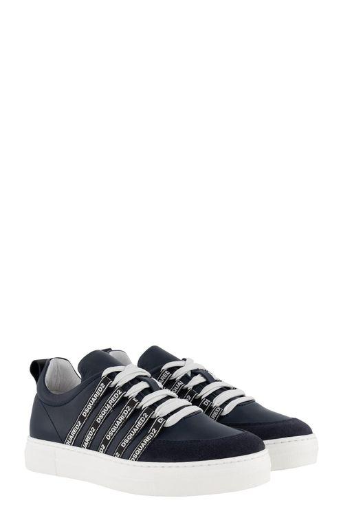 Box Sole Sneakers Logo Stripe Lace Up