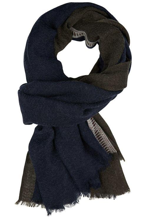 Wollen Sjaal Navy Blauw/Grijs