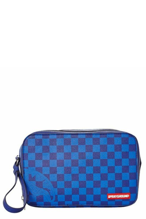 Blue Checkered Shark Toiletry Bag