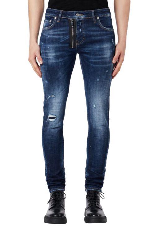 Zipper Jeans Dark Denim