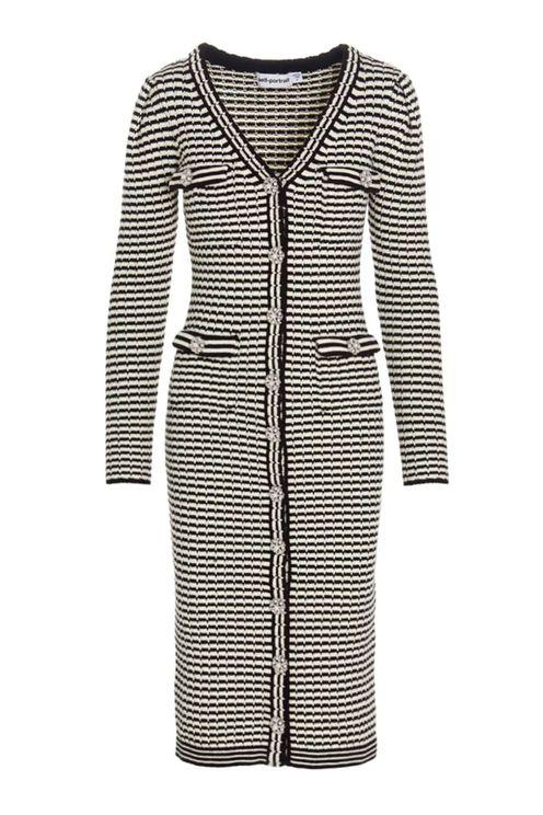 Monochrome Melange Knit Cardigan