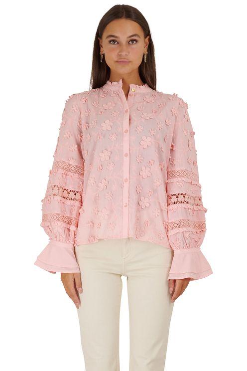 Koraal kleur blouse met bloemen