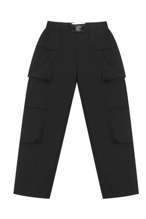 Pantalone Cargo in misto Lana Nero